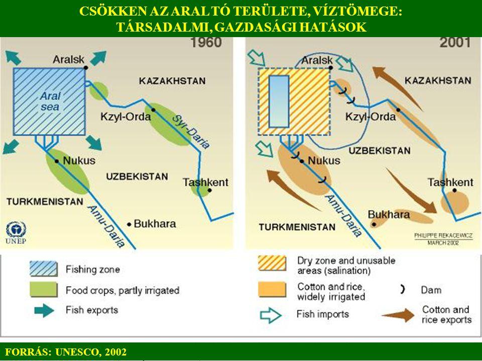 CSÖKKEN AZ ARAL TÓ TERÜLETE, VÍZTÖMEGE: TÁRSADALMI, GAZDASÁGI HATÁSOK FORRÁS: UNESCO, 2002