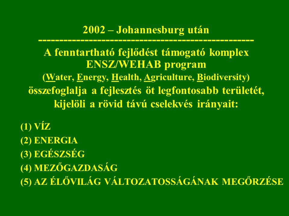 2002 – Johannesburg után --------------------------------------------------- A fenntartható fejlődést támogató komplex ENSZ/WEHAB program (Water, Ener