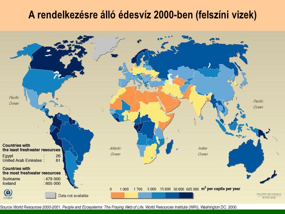 A rendelkezésre álló édesvíz 2000-ben (felszíni vizek)