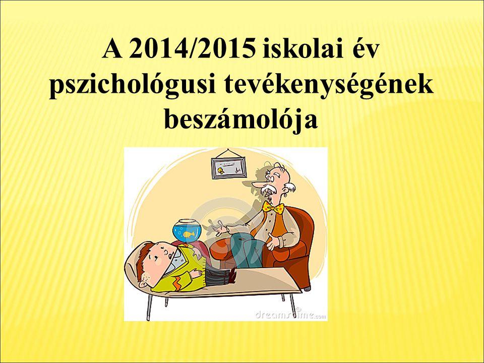 A 2014/2015 iskolai év pszichológusi tevékenységének beszámolója