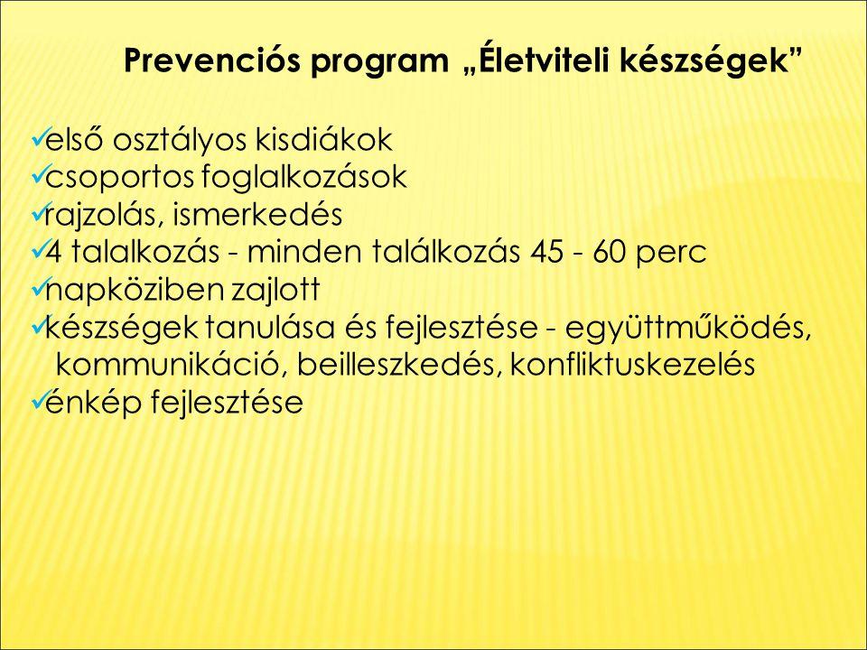 """Prevenciós program """"Életviteli készségek első osztályos kisdiákok csoportos foglalkozások rajzolás, ismerkedés 4 talalkozás - minden találkozás 45 - 60 perc napköziben zajlott készségek tanulása és fejlesztése - együttműködés, kommunikáció, beilleszkedés, konfliktuskezelés énkép fejlesztése"""