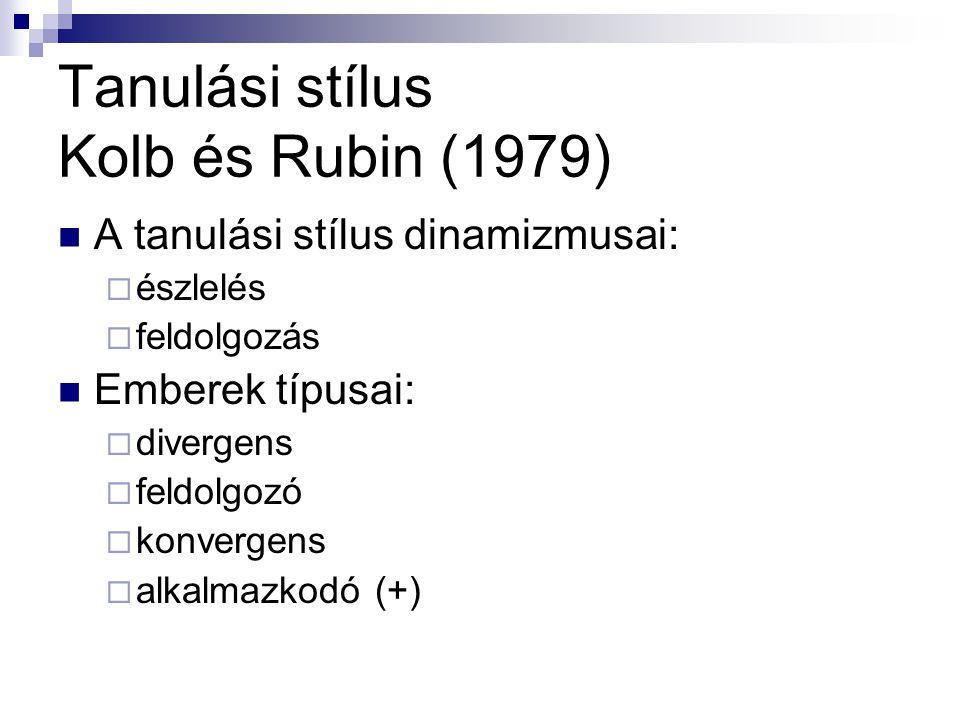 Tanulási stílus Kolb és Rubin (1979) A tanulási stílus dinamizmusai:  észlelés  feldolgozás Emberek típusai:  divergens  feldolgozó  konvergens 