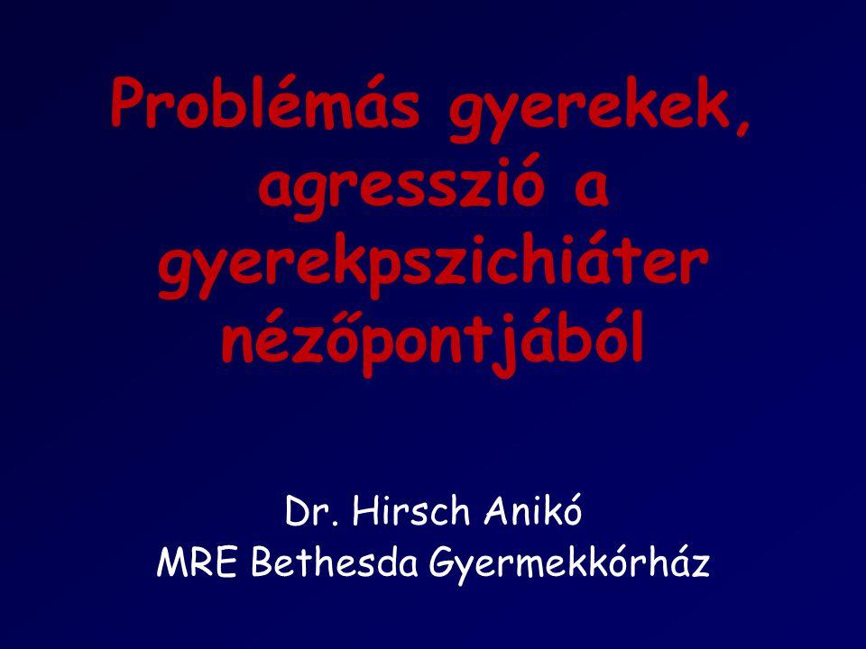 Problémás gyerekek, agresszió a gyerekpszichiáter nézőpontjából Dr. Hirsch Anikó MRE Bethesda Gyermekkórház