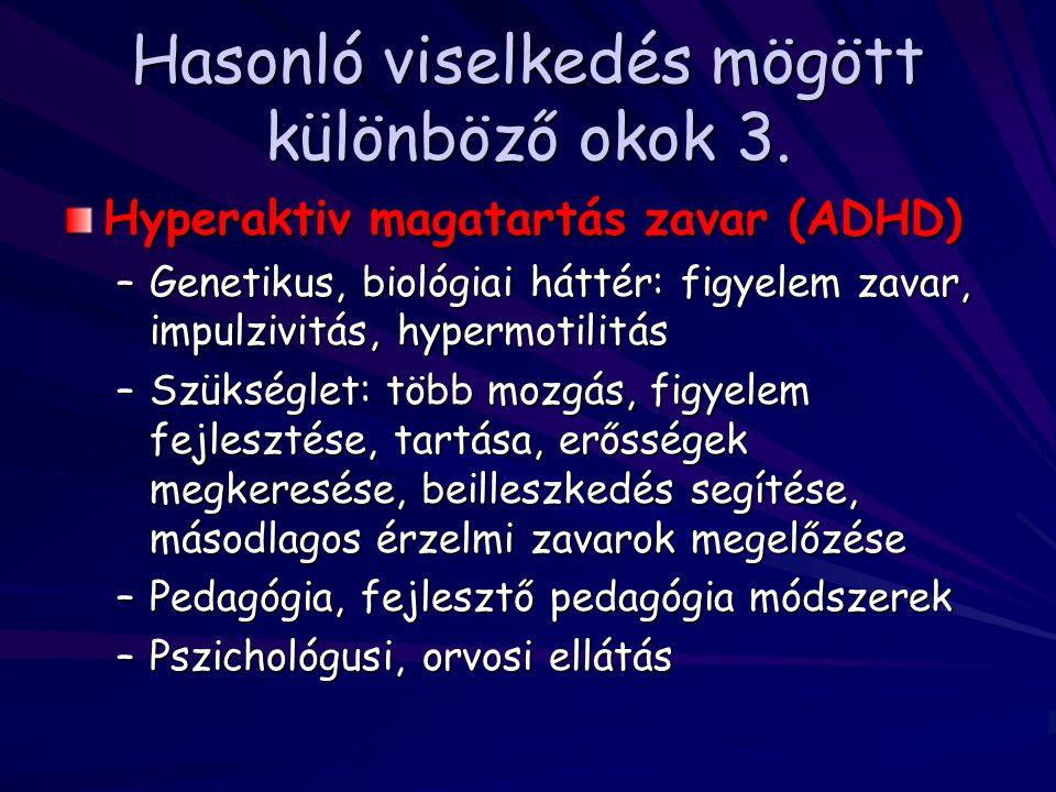 Hasonló viselkedés mögött különböző okok 3. Hyperaktiv magatartás zavar (ADHD) –Genetikus, biológiai háttér: figyelem zavar, impulzivitás, hypermotili