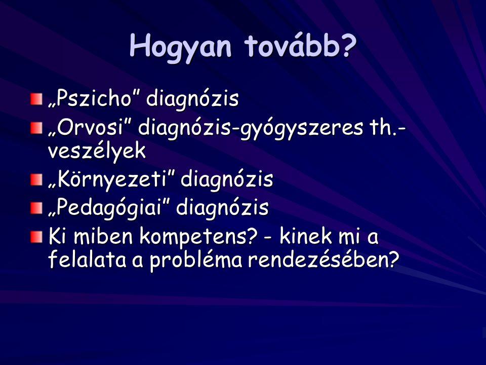 """Hogyan tovább? """"Pszicho"""" diagnózis """"Orvosi"""" diagnózis-gyógyszeres th.- veszélyek """"Környezeti"""" diagnózis """"Pedagógiai"""" diagnózis Ki miben kompetens? - k"""