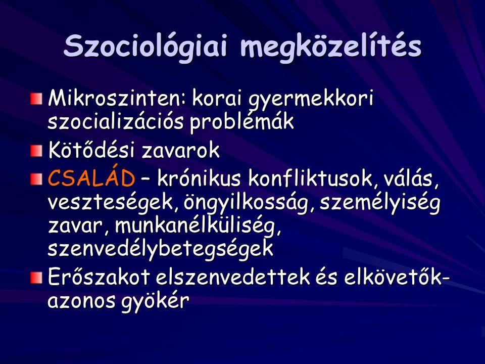 Szociológiai megközelítés Mikroszinten: korai gyermekkori szocializációs problémák Kötődési zavarok CSALÁD – krónikus konfliktusok, válás, veszteségek