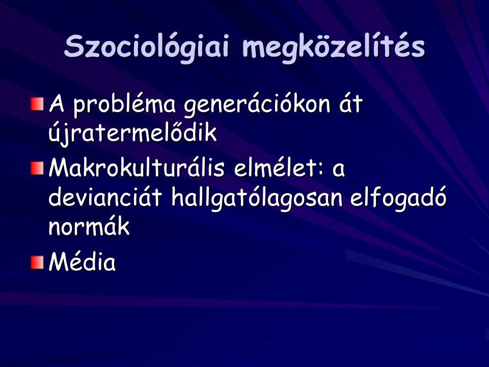 Szociológiai megközelítés A probléma generációkon át újratermelődik Makrokulturális elmélet: a devianciát hallgatólagosan elfogadó normák Média