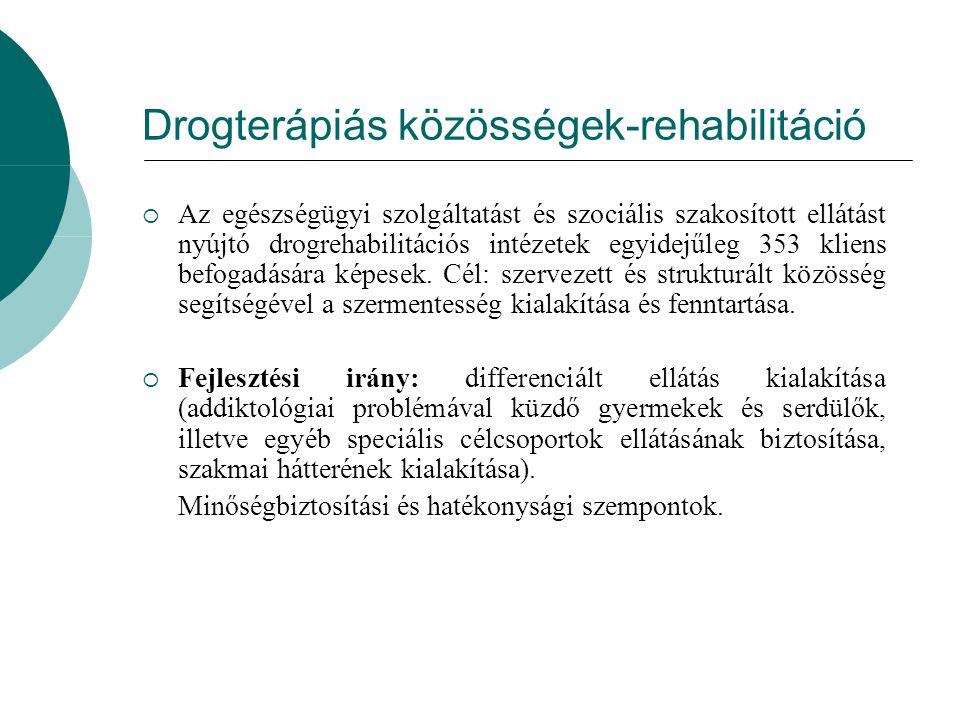 Drogterápiás közösségek-rehabilitáció  Az egészségügyi szolgáltatást és szociális szakosított ellátást nyújtó drogrehabilitációs intézetek egyidejűle