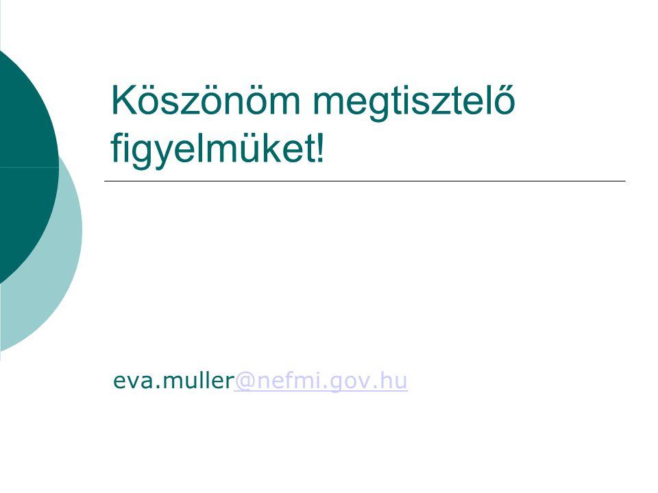 Köszönöm megtisztelő figyelmüket! eva.muller@nefmi.gov.hu@nefmi.gov.hu
