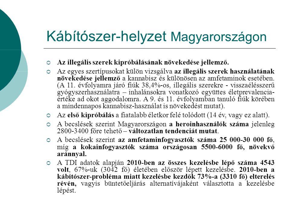 Kábítószer-helyzet Magyarországon  Az illegális szerek kipróbálásának növekedése jellemző.  Az egyes szertípusokat külön vizsgálva az illegális szer