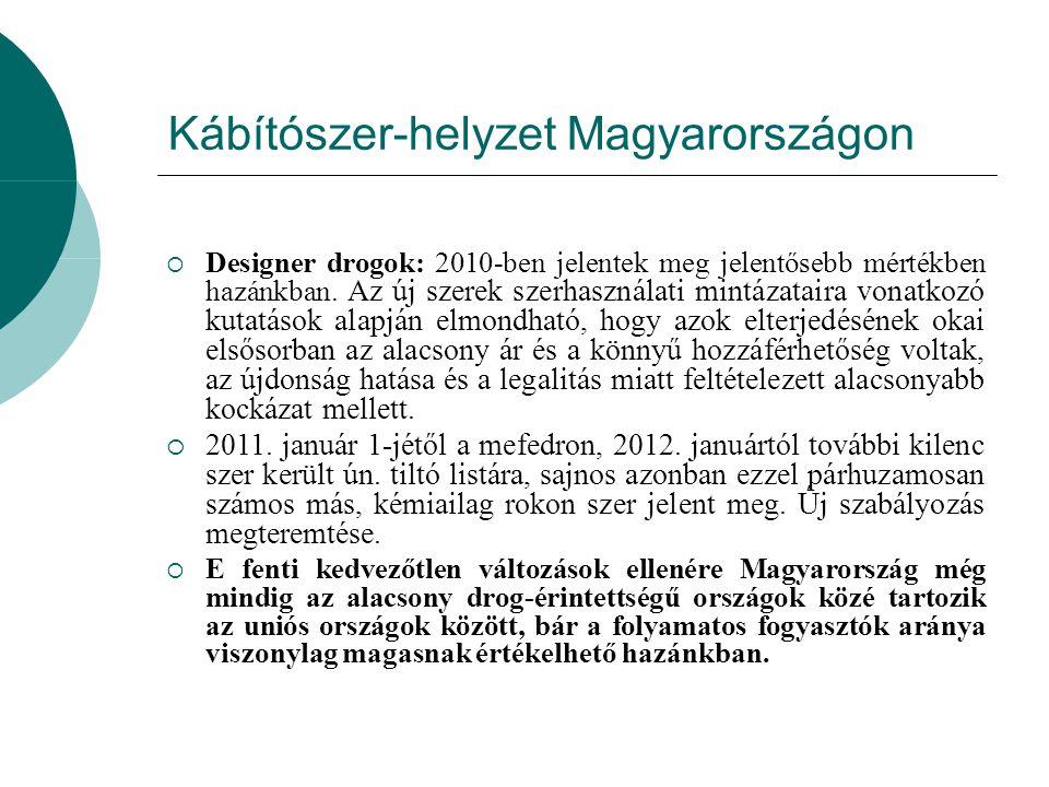 Kábítószer-helyzet Magyarországon  Designer drogok: 2010-ben jelentek meg jelentősebb mértékben hazánkban. Az új szerek szerhasználati mintázataira v
