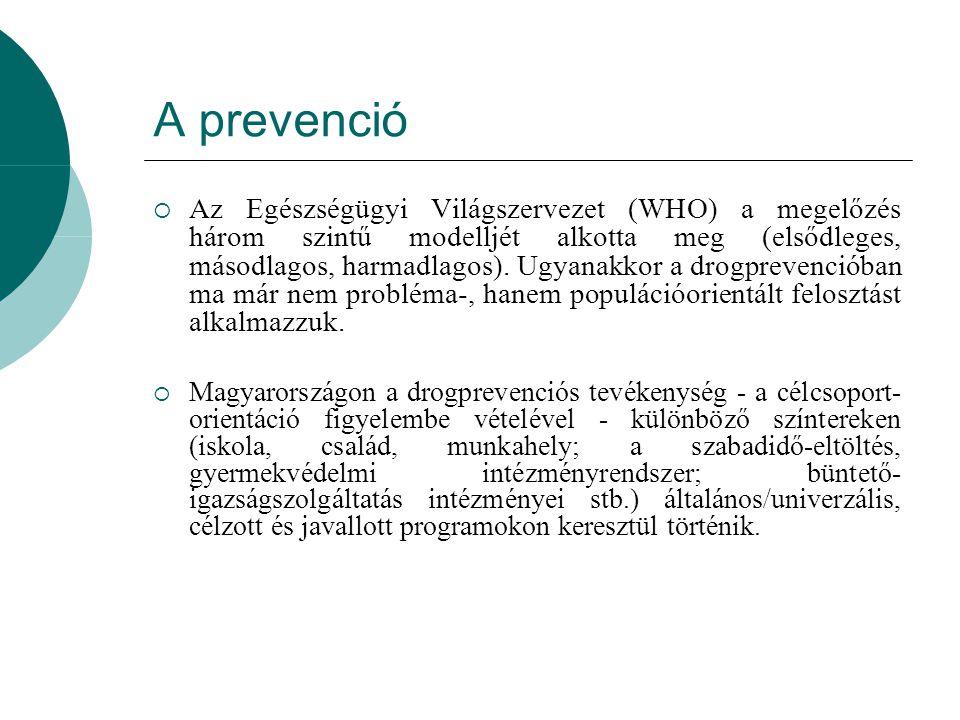 A prevenció  Az Egészségügyi Világszervezet (WHO) a megelőzés három szintű modelljét alkotta meg (elsődleges, másodlagos, harmadlagos). Ugyanakkor a