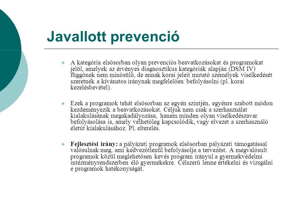 Javallott prevenció A kategória elsősorban olyan prevenciós beavatkozásokat és programokat jelöl, amelyek az érvényes diagnosztikus kategóriák alapján