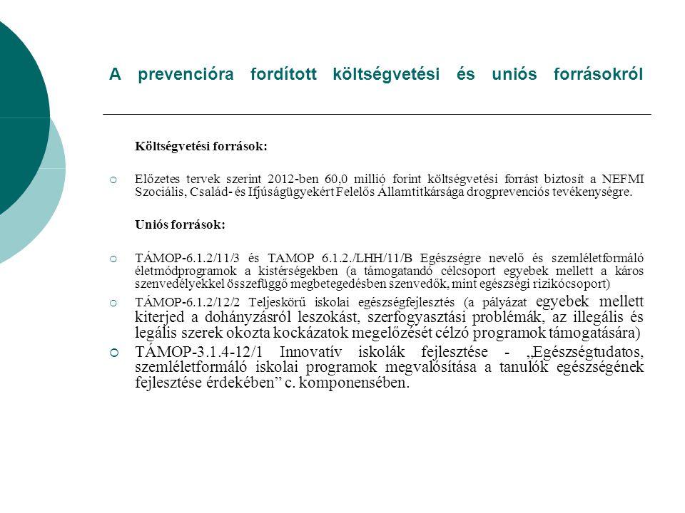 A prevencióra fordított költségvetési és uniós forrásokról Költségvetési források:  Előzetes tervek szerint 2012-ben 60,0 millió forint költségvetési