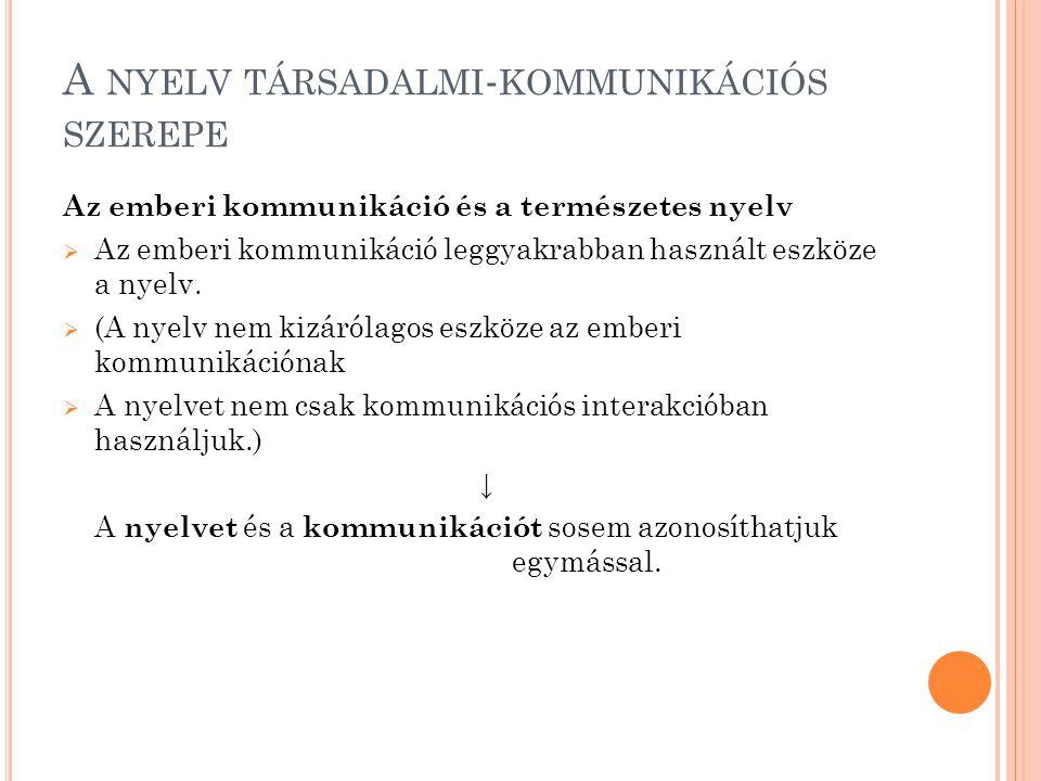 A NYELV TÁRSADALMI - KOMMUNIKÁCIÓS SZEREPE Az emberi kommunikáció és a természetes nyelv  Az emberi kommunikáció leggyakrabban használt eszköze a nyelv.