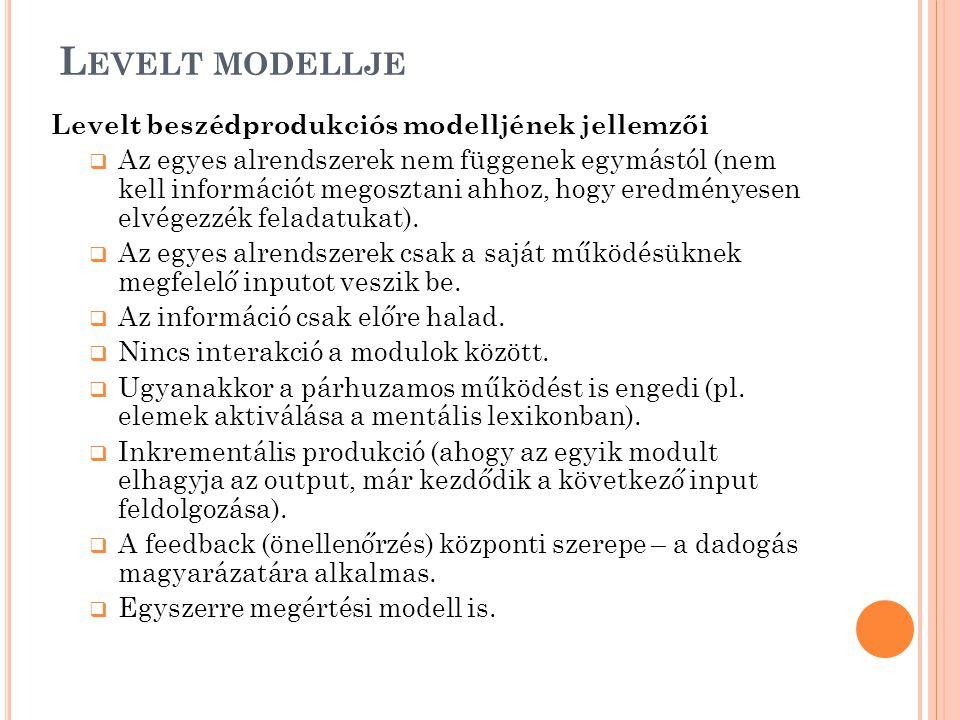 L EVELT MODELLJE Levelt beszédprodukciós modelljének jellemzői  Az egyes alrendszerek nem függenek egymástól (nem kell információt megosztani ahhoz, hogy eredményesen elvégezzék feladatukat).