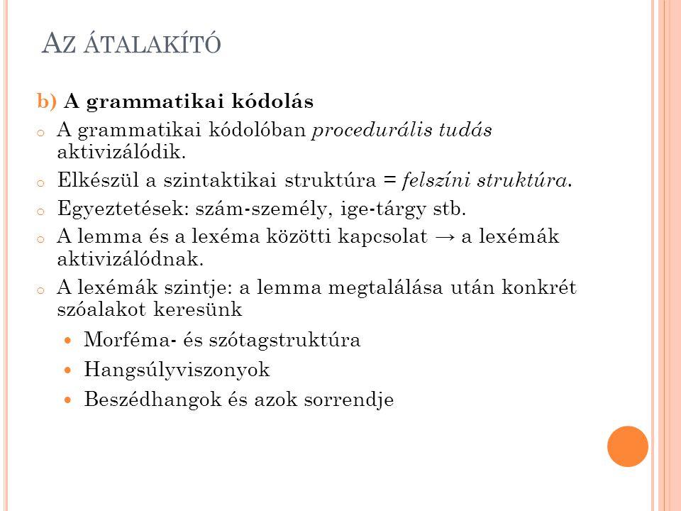A Z ÁTALAKÍTÓ b) A grammatikai kódolás o A grammatikai kódolóban procedurális tudás aktivizálódik.