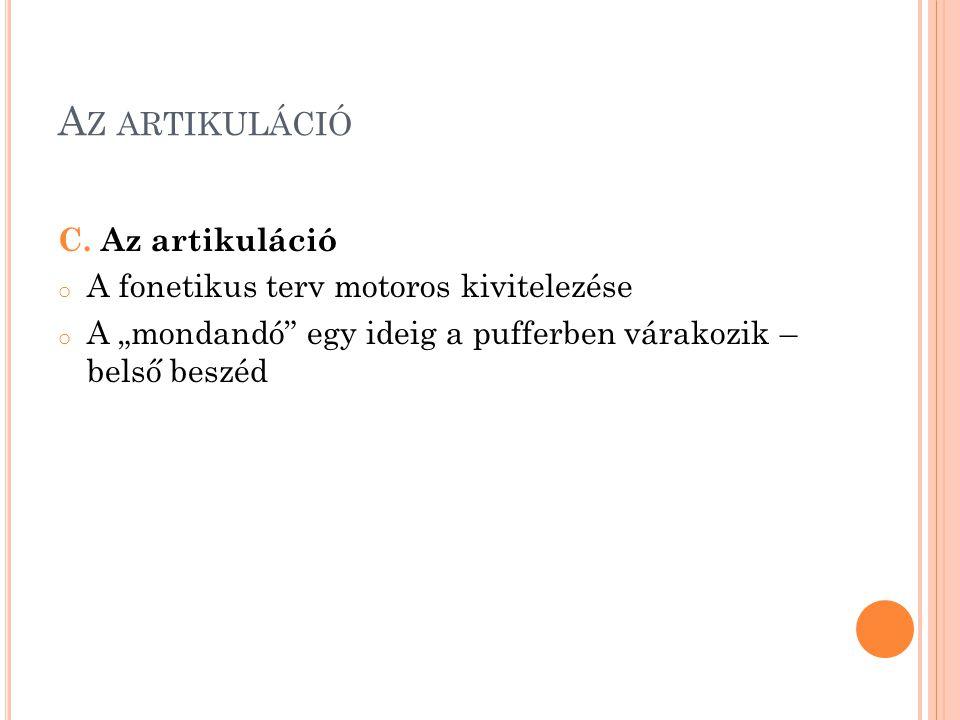 A Z ARTIKULÁCIÓ C.