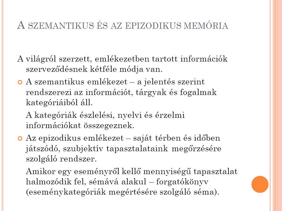 A SZEMANTIKUS ÉS AZ EPIZODIKUS MEMÓRIA A világról szerzett, emlékezetben tartott információk szerveződésnek kétféle módja van. A szemantikus emlékezet