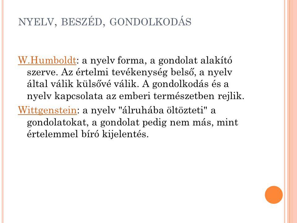 NYELV, BESZÉD, GONDOLKODÁS W.HumboldtW.Humboldt: a nyelv forma, a gondolat alakító szerve. Az értelmi tevékenység belső, a nyelv által válik külsővé v