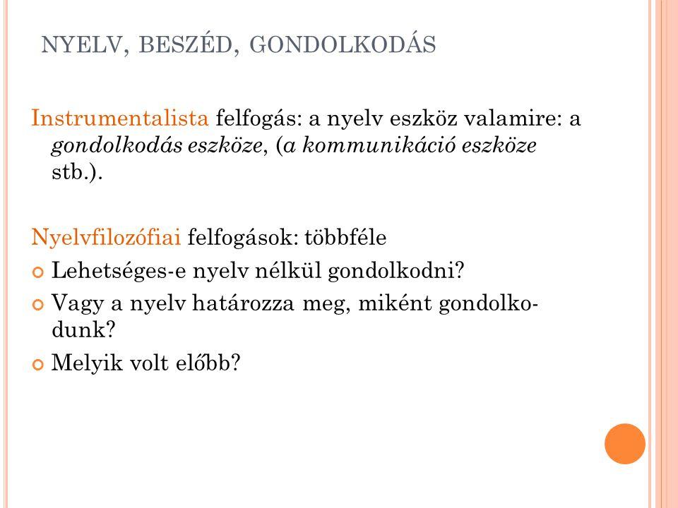 NYELV, BESZÉD, GONDOLKODÁS Instrumentalista felfogás: a nyelv eszköz valamire: a gondolkodás eszköze, ( a kommunikáció eszköze stb.). Nyelvfilozófiai