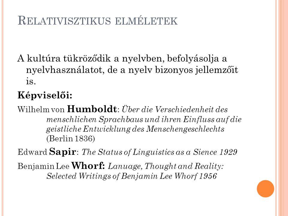 A kultúra tükröződik a nyelvben, befolyásolja a nyelvhasználatot, de a nyelv bizonyos jellemzőit is. Képviselői: Wilhelm von Humboldt : Über die Versc