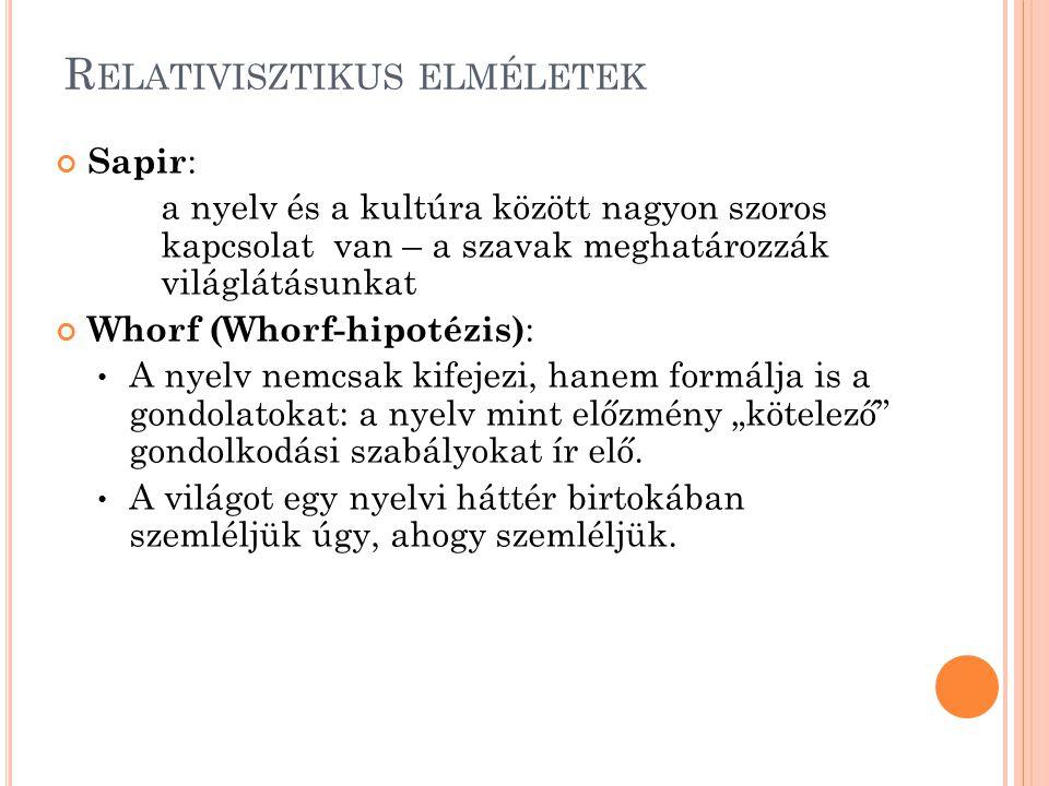 Sapir : a nyelv és a kultúra között nagyon szoros kapcsolat van – a szavak meghatározzák világlátásunkat Whorf (Whorf-hipotézis) : A nyelv nemcsak kif