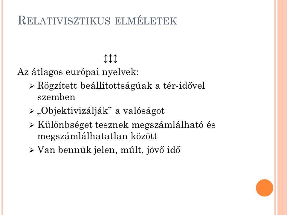 """R ELATIVISZTIKUS ELMÉLETEK ↕↕↕ Az átlagos európai nyelvek:  Rögzített beállítottságúak a tér-idővel szemben  """"Objektivizálják"""" a valóságot  Különbs"""