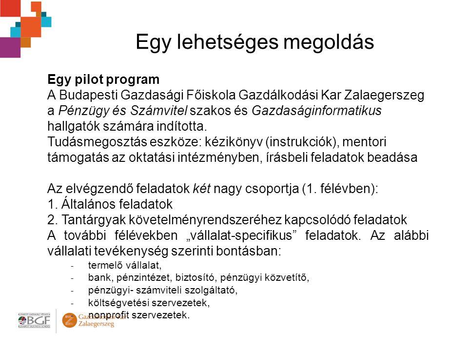 Egy lehetséges megoldás Egy pilot program A Budapesti Gazdasági Főiskola Gazdálkodási Kar Zalaegerszeg a Pénzügy és Számvitel szakos és Gazdaságinformatikus hallgatók számára indította.