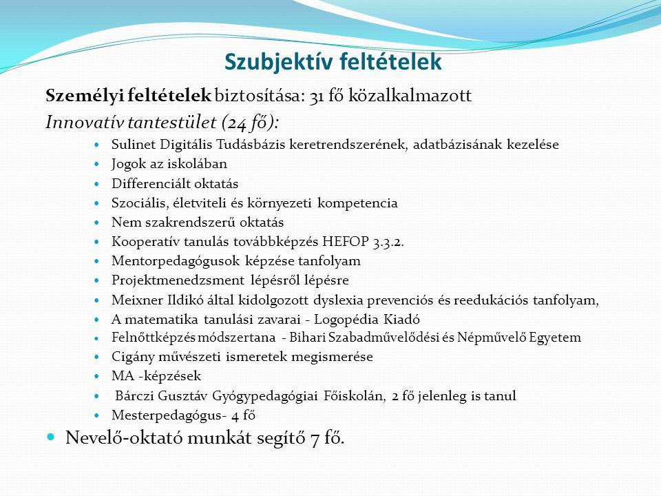 Szubjektív feltételek Személyi feltételek biztosítása: 31 fő közalkalmazott Innovatív tantestület (24 fő): Sulinet Digitális Tudásbázis keretrendszeré
