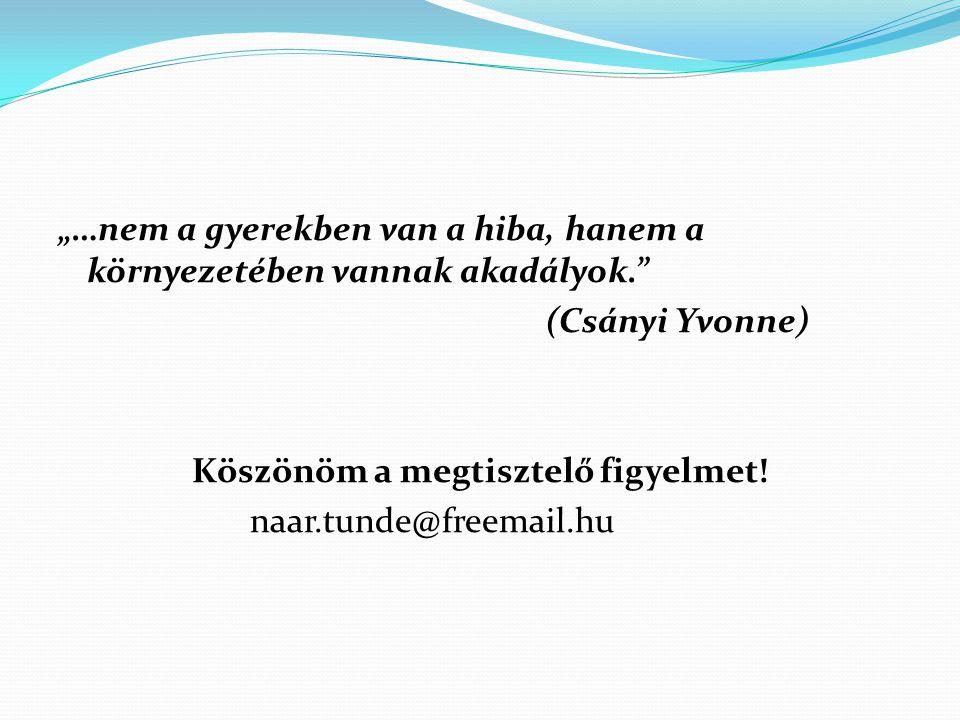 """""""…nem a gyerekben van a hiba, hanem a környezetében vannak akadályok."""" (Csányi Yvonne) Köszönöm a megtisztelő figyelmet! naar.tunde@freemail.hu"""