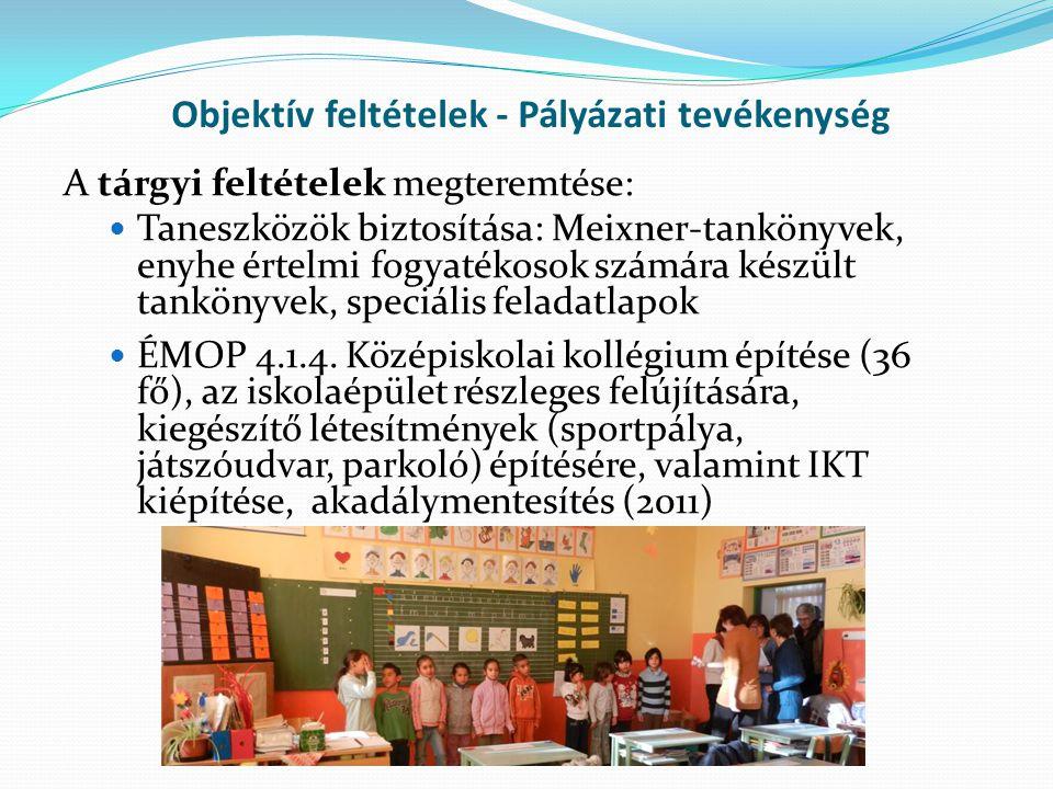 Objektív feltételek - Pályázati tevékenység A tárgyi feltételek megteremtése: Taneszközök biztosítása: Meixner-tankönyvek, enyhe értelmi fogyatékosok