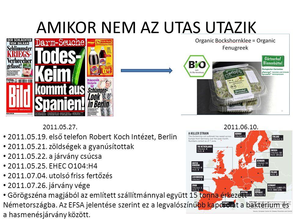 AMIKOR NEM AZ UTAS UTAZIK 2011.05.27.2011.06.10. 2011.05.19. első telefon Robert Koch Intézet, Berlin 2011.05.21. zöldségek a gyanúsítottak 2011.05.22