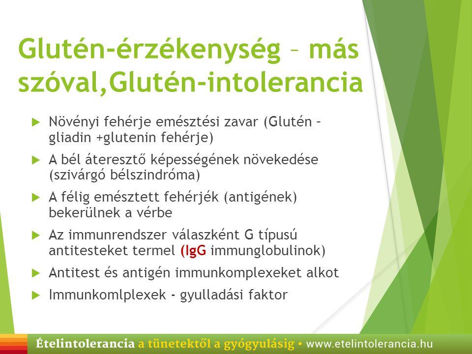 Glutén-érzékenység – más szóval,Glutén-intolerancia  Növényi fehérje emésztési zavar (Glutén – gliadin +glutenin fehérje)  A bél áteresztő képességé
