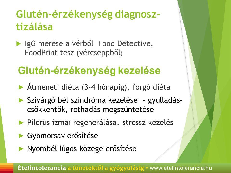 Glutén-érzékenység diagnosz- tizálása  IgG mérése a vérből Food Detective, FoodPrint tesz (vércseppből ) Glutén-érzékenység kezelése ► Átmeneti diéta