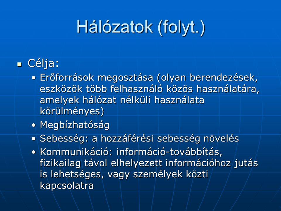 Hálózati hardverek (folyt.) Router (útválasztó) : Router (útválasztó) : A helyi hálózat és a külvilág (internet) közti kapcsolatot biztosítja.A helyi hálózat és a külvilág (internet) közti kapcsolatot biztosítja.