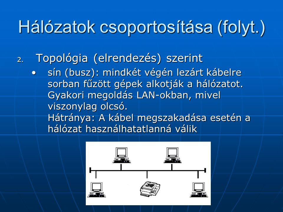 Hálózatok csoportosítása (folyt.) csillag: egy központi, nagy teljesítményű géphez (hub) vagy a hálózat egy kitüntetett egységéhez kapcsolódnak a gépek.