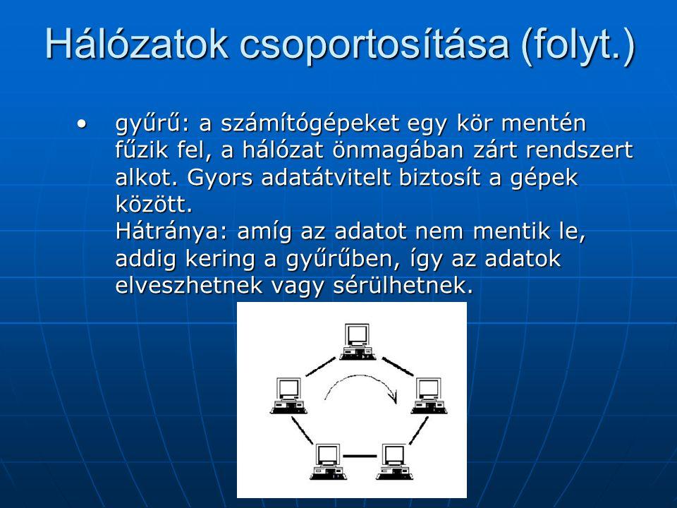 Hálózatok csoportosítása (folyt.) hierarchikus (fa): a számítógépek fa- struktúrában vannak összekötve.