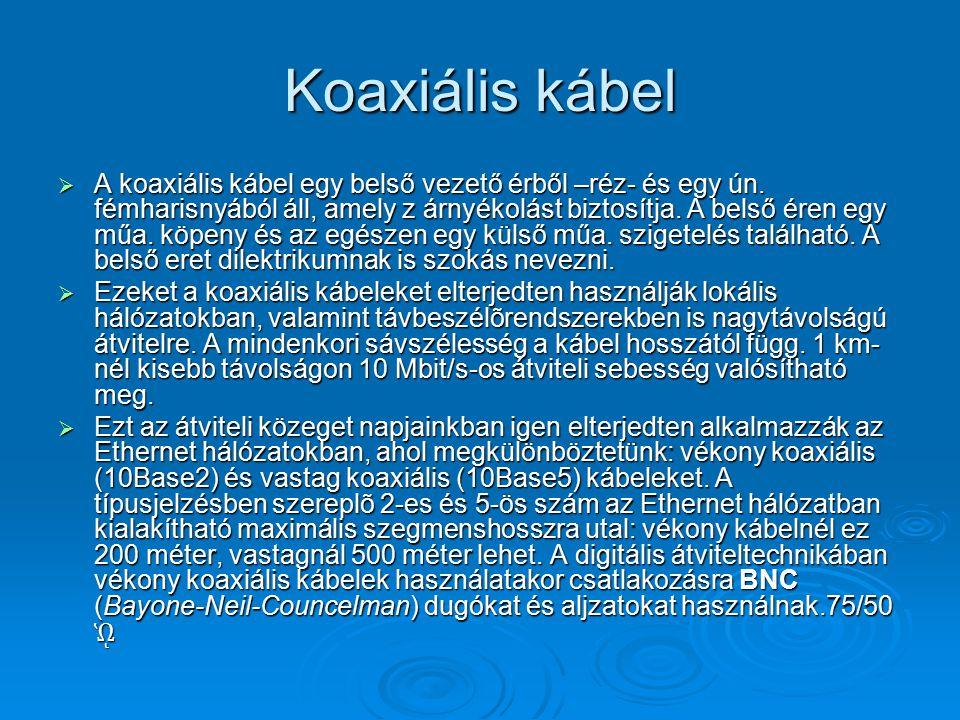 Koaxiális kábel  A koaxiális kábel egy belső vezető érből –réz- és egy ún. fémharisnyából áll, amely z árnyékolást biztosítja. A belső éren egy műa.