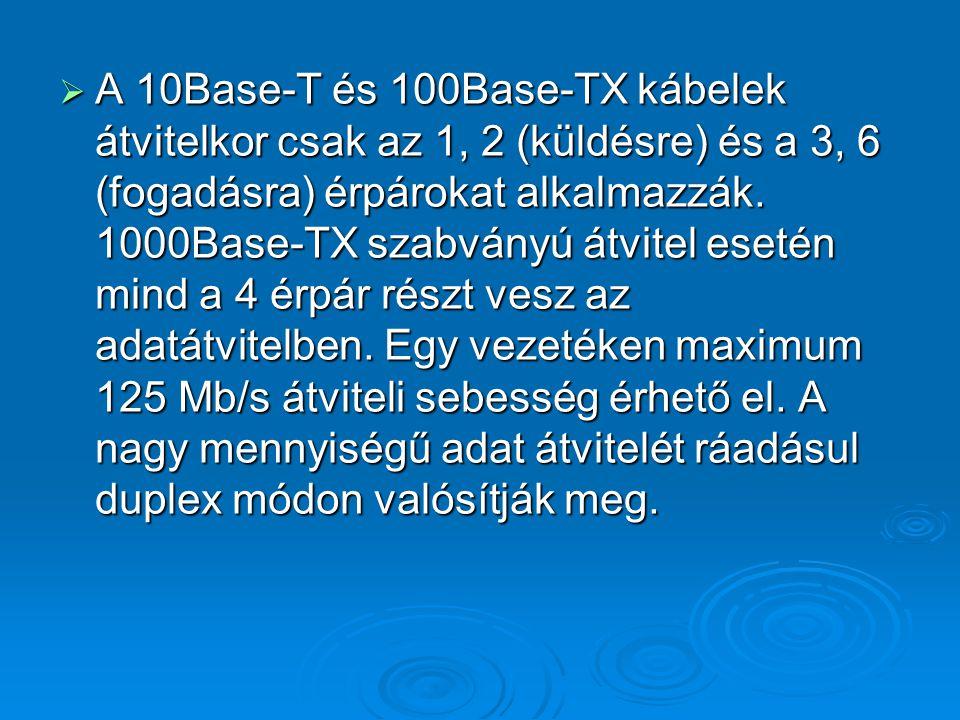  A 10Base-T és 100Base-TX kábelek átvitelkor csak az 1, 2 (küldésre) és a 3, 6 (fogadásra) érpárokat alkalmazzák. 1000Base-TX szabványú átvitel eseté