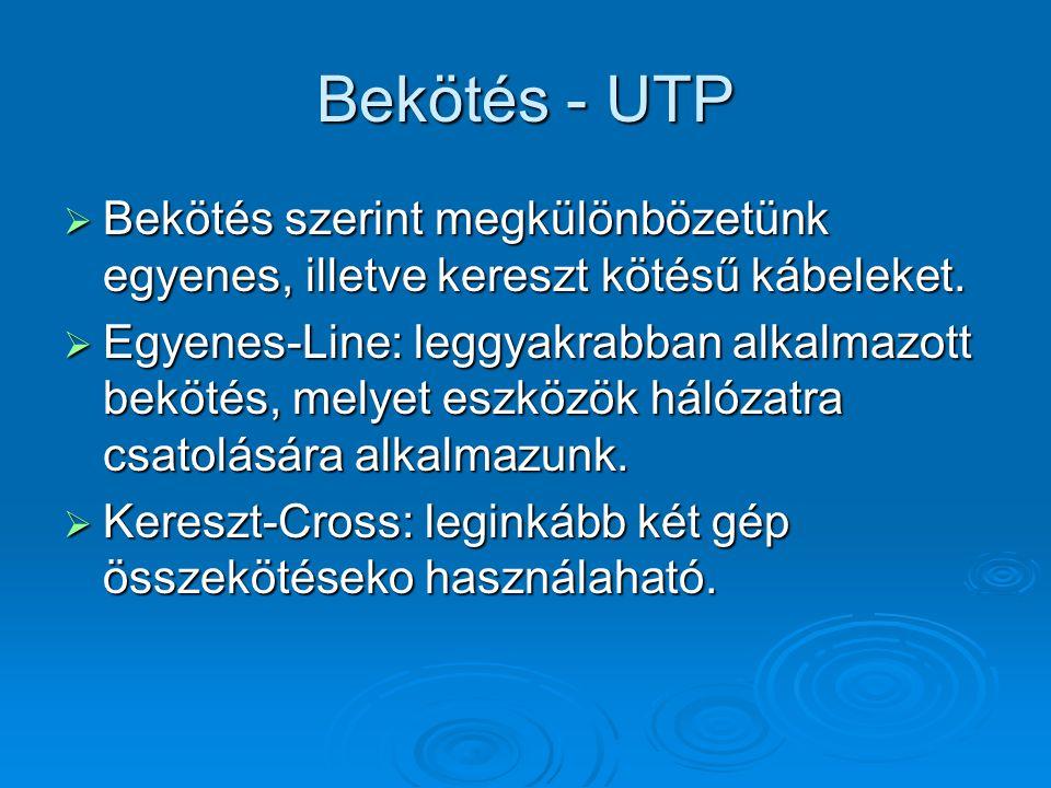 Bekötés - UTP  Bekötés szerint megkülönbözetünk egyenes, illetve kereszt kötésű kábeleket.  Egyenes-Line: leggyakrabban alkalmazott bekötés, melyet