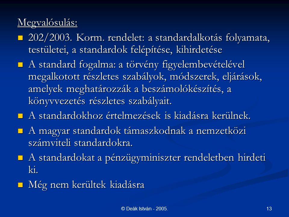 13© Deák István - 2005. Megvalósulás: 202/2003. Korm. rendelet: a standardalkotás folyamata, testületei, a standardok felépítése, kihirdetése 202/2003