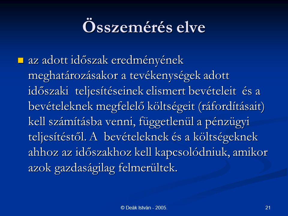 21© Deák István - 2005. Összemérés elve az adott időszak eredményének meghatározásakor a tevékenységek adott időszaki teljesítéseinek elismert bevétel