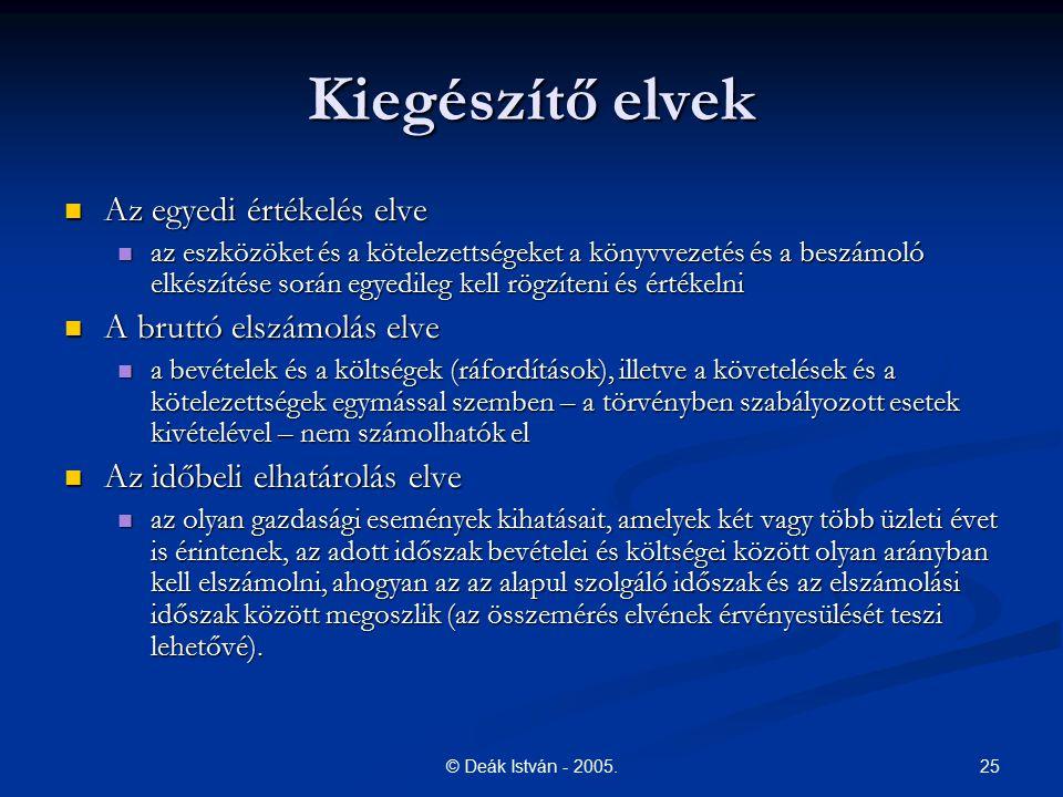 25© Deák István - 2005. Kiegészítő elvek Az egyedi értékelés elve Az egyedi értékelés elve az eszközöket és a kötelezettségeket a könyvvezetés és a be