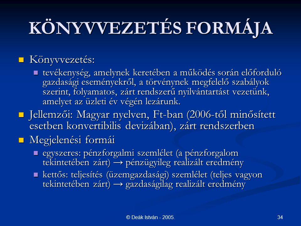 34© Deák István - 2005. KÖNYVVEZETÉS FORMÁJA Könyvvezetés: Könyvvezetés: tevékenység, amelynek keretében a működés során előforduló gazdasági eseménye