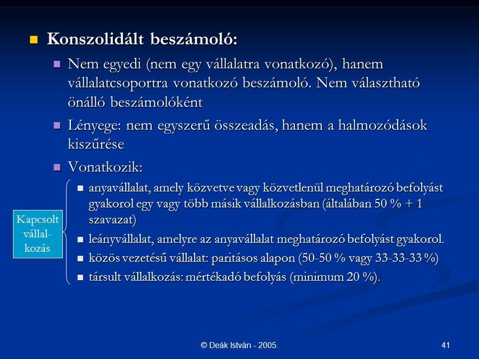 41© Deák István - 2005. Konszolidált beszámoló: Konszolidált beszámoló: Nem egyedi (nem egy vállalatra vonatkozó), hanem vállalatcsoportra vonatkozó b