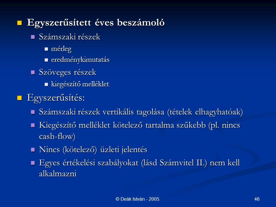 46© Deák István - 2005. Egyszerűsített éves beszámoló Egyszerűsített éves beszámoló Számszaki részek Számszaki részek mérleg mérleg eredménykimutatás