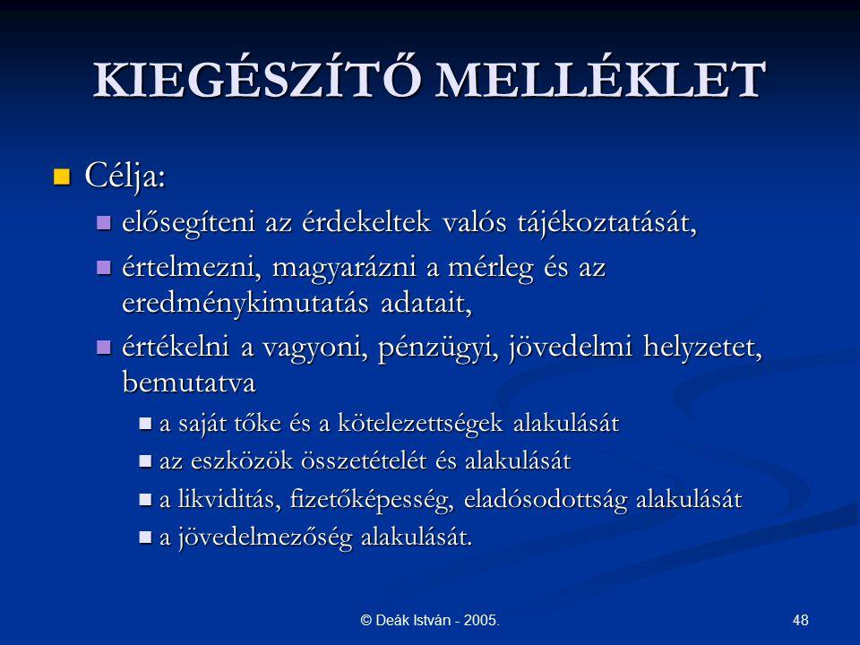 48© Deák István - 2005. KIEGÉSZÍTŐ MELLÉKLET Célja: Célja: elősegíteni az érdekeltek valós tájékoztatását, elősegíteni az érdekeltek valós tájékoztatá