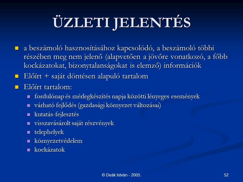 52© Deák István - 2005. ÜZLETI JELENTÉS a beszámoló hasznosításához kapcsolódó, a beszámoló többi részében meg nem jelenő (alapvetően a jövőre vonatko