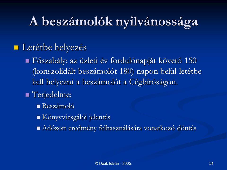 54© Deák István - 2005. A beszámolók nyilvánossága Letétbe helyezés Letétbe helyezés Főszabály: az üzleti év fordulónapját követő 150 (konszolidált be